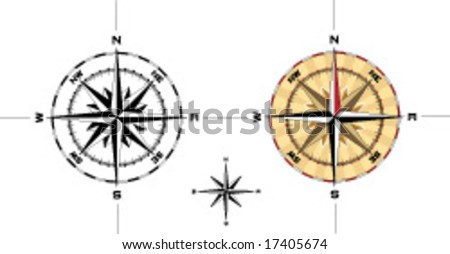 Detailed navigation compass illustration accurate to one degree - Vector Illustration - stock vector