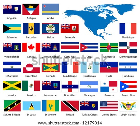 Detailed North American Flags and Map - stock vector