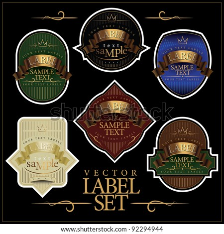 Detailed ornate various color label set. - stock vector