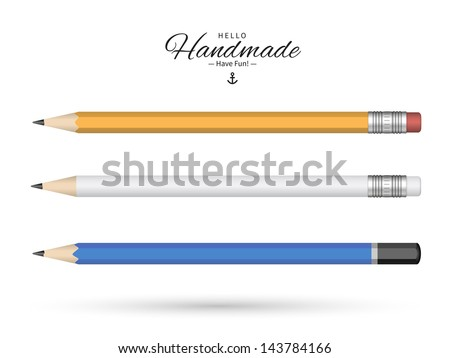 Detailed pencils isolated on white background. Vector Illustration. - stock vector