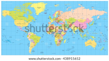 Detailed political World Map: countries, cities, water objects. All elements are separated in editable layers clearly labeled. - stock vector