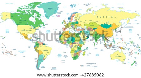 Detailed Political World map isolated on white. Vector illustration.