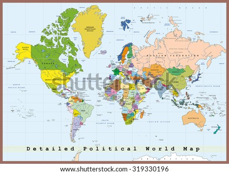 Detailed political world map with capitals and rivers - stock vector