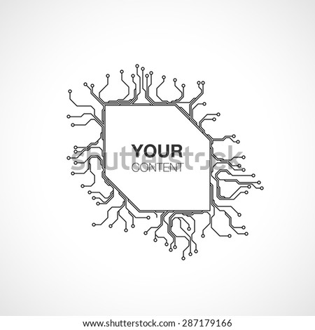 Detailed Printed Circuit Board text box background design for your content infographics vector stock eps 10 illustration - stock vector