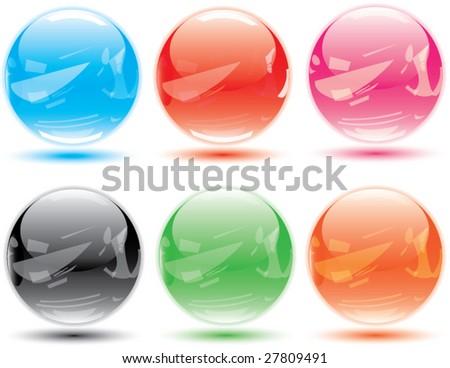 Detailed & realistic multicolored glossy crystal vector ball for your button or web design. - stock vector