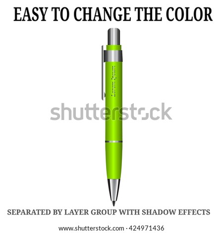 Detailed realistic vector green pen icon. Illustration isolated from background. - stock vector