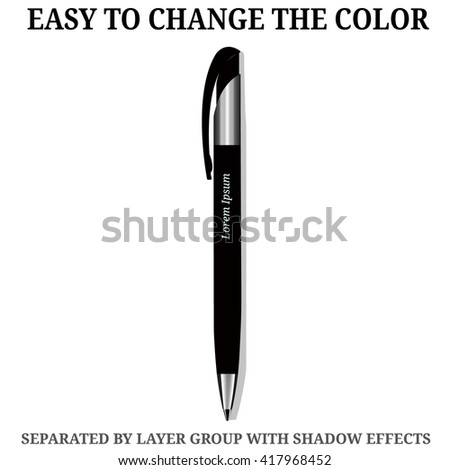 Detailed realistic vector Pen icon. Illustration isolated from background. - stock vector