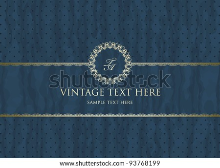 Detailed retro frame on  polka-dot beige background