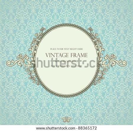 Detailed retro frame on repeating damask wallpaper - stock vector