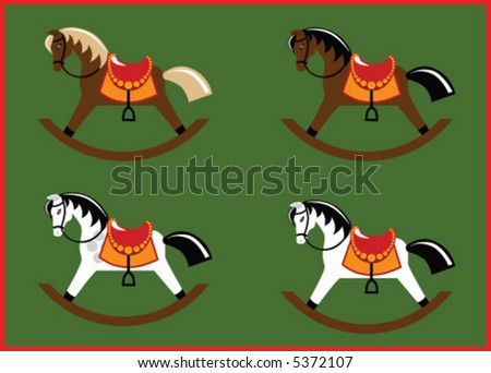 Detailed rocking horse toy in four classic coats (flaxen brown, bay, dapple grey and grey, each in a separate layer) - stock vector