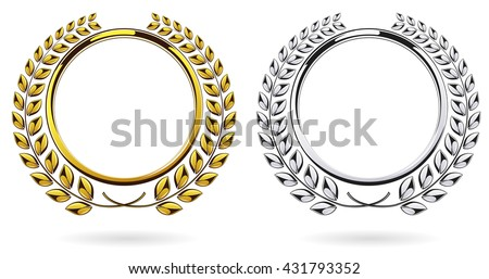 Detailed round silver and golden laurel wreath award set isolated on white background. Gold, platinum ring element logo. Victory, honor achievement, quality product, anniversary. Vector illustration - stock vector