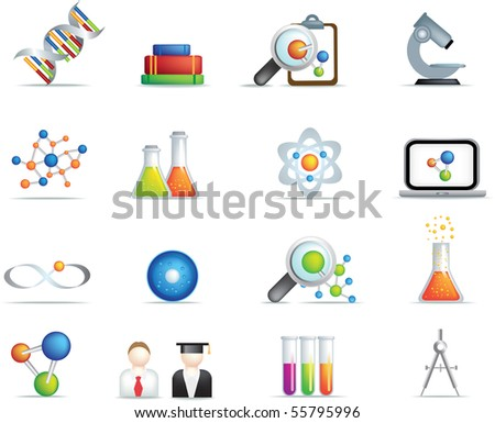 detailed set of scientific research icons and items on white background - stock vector