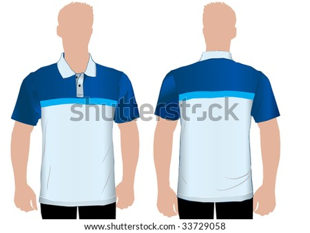 Detailed shaded polo tshirt on man - stock vector
