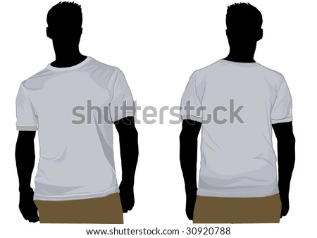 Detailed shaded tshirt on man - stock vector