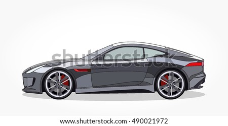 detailed side of a flat grey sports car cartoon with black stroke and shadow.