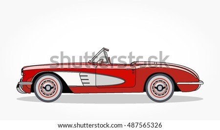 detailed side of a flat red convertible car cartoon with black stroke and shadow colored