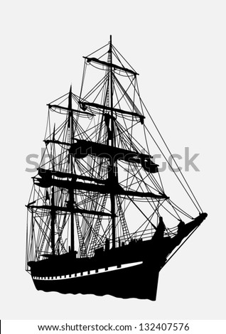 Detailed silhouette of old ship - stock vector