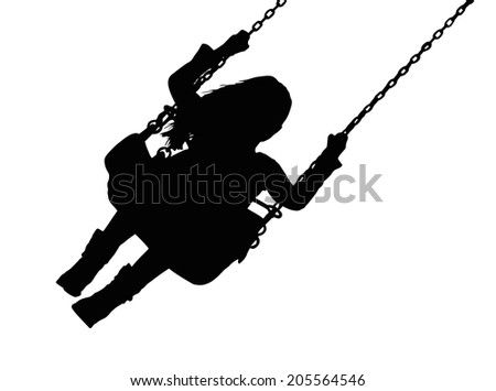 Detailed Silhouette of Small Girl on Amusement Park Swing  - stock vector