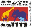 Detailed silhouettes of giraffes, rhinos, impalas and baby, young and adult elephants. All figures complete. - stock vector