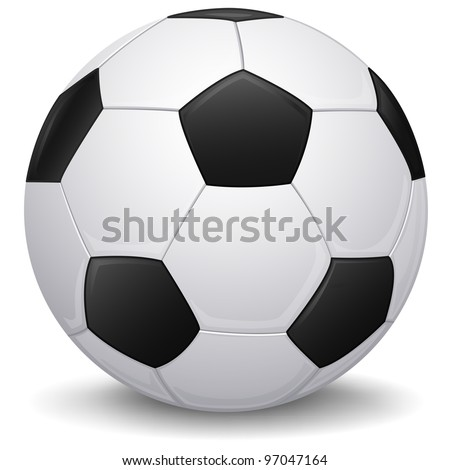 Detailed Soccer ball, football icon, isolated - stock vector