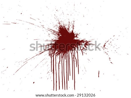 Detailed splash of blood or paint on a wall (vector). - stock vector