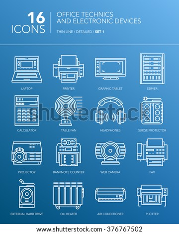 Detailed thin white line icons for business. Office technics and electronic devices. Laptop, printer, server, fax, fan, headphones and other devices. Vector. - stock vector