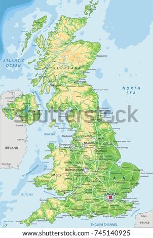 Detailed Uk Physical Map Stock Vector 745140925 Shutterstock