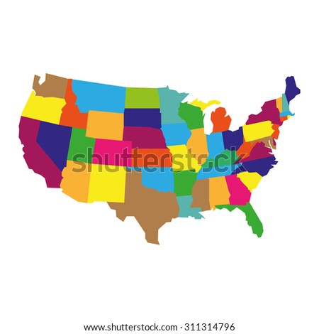 Detailed USA Map - stock vector