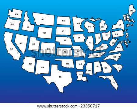 Detailed USA map with states in separate layers