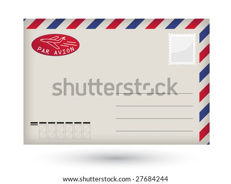 Detailed vector blank airmail envelope