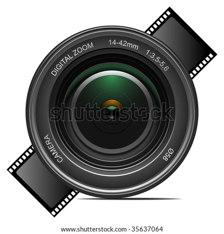 Detailed vector camera lens. To see more detailed vectors go to my portfolio... - stock vector