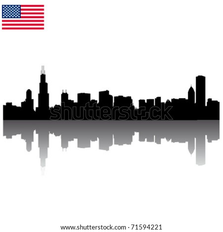 Detailed vector Chicago silhouette skyline with USA flag - stock vector