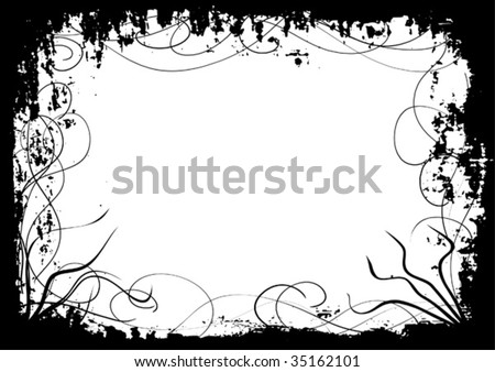 Detailed vector grunge border or frame with swirls. - stock vector
