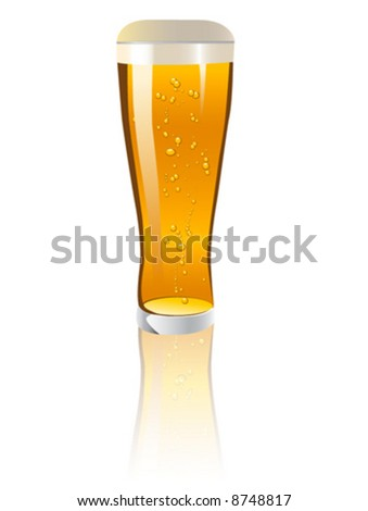 Detailed vector illustration of a glass of beer - stock vector