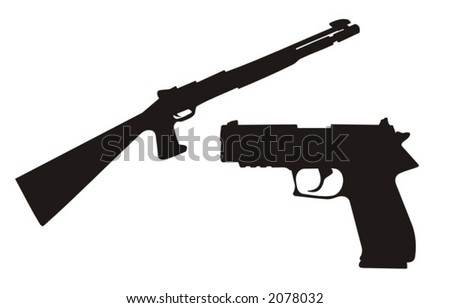 detailed vector illustration of a gun and a rifle - stock vector