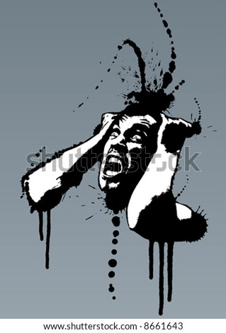 Detailed vector illustration of a screaming man pulling his hair out out of madness. Grunge style with ink splatters. - stock vector