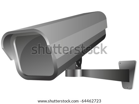 detailed vector illustration of a security camera - stock vector