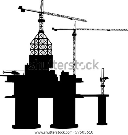 detailed vector illustration of an oil rig - stock vector
