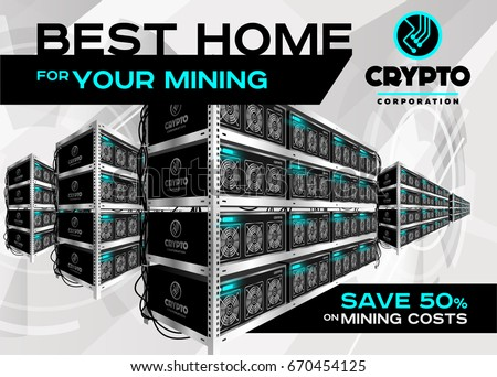 Detailed Vector Illustration Of Bitcoin Mining Farm In Perspective Racks Machines At Server