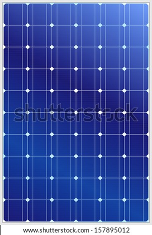 Detailed vector illustration of blue silicon photovoltaic electric solar panel texture - stock vector