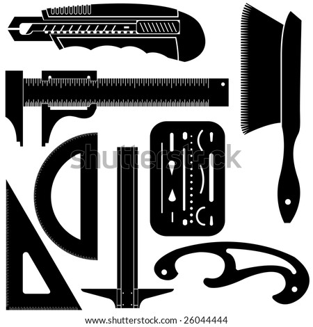 Detailed vector illustration of drafting and engineering tools including t square, french curve, protractor, triangle, and utility knife.
