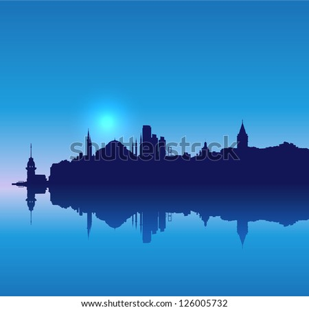 Detailed vector Istanbul silhouette skyline - stock vector
