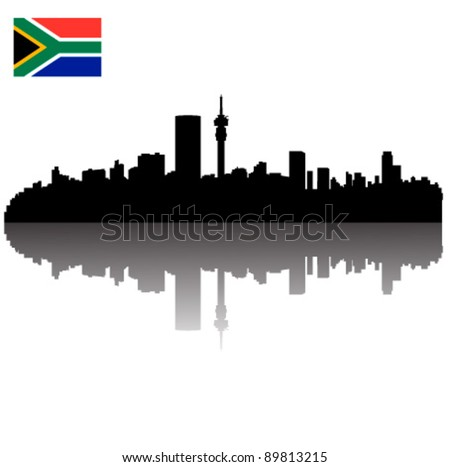 Detailed vector Johannesburg silhouette skyline with South Africa Flag