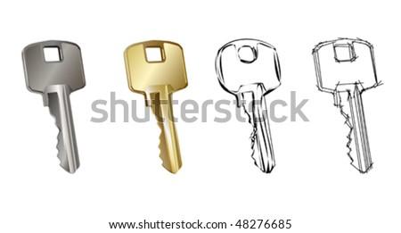 Detailed vector key - stock vector