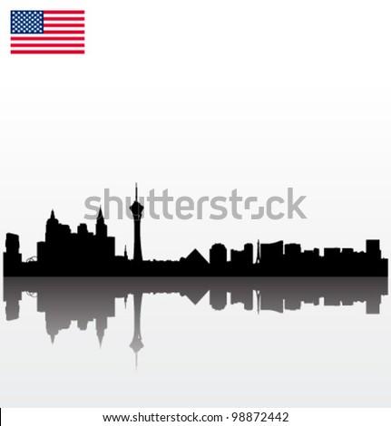 Detailed vector Las Vegas silhouette skyline with USA flag - stock vector