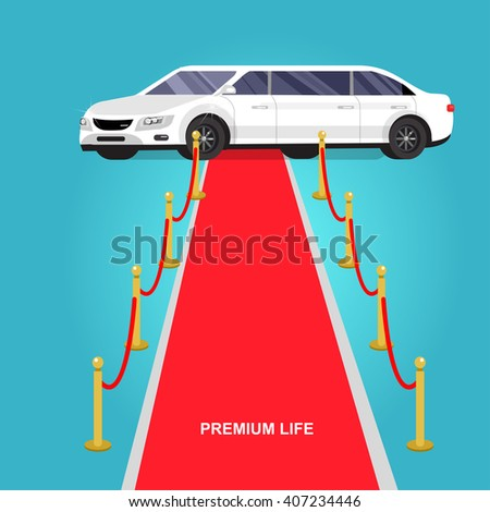 detailed vector luxury limousine car and red carpet for world premiere, red carpet for celebrities and guests. Vector red carpet and luxury limousine - stock vector