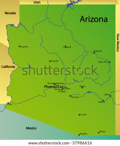 detailed vector map of arizona state, usa