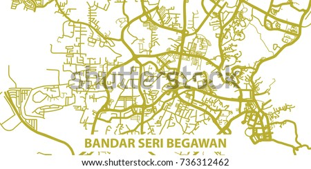 Detailed Vector Map Bandar Seri Begawan Stock Vector HD Royalty