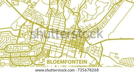 Detailed Vector Map Bloemfontein Gold Title Stock Vector 735678268