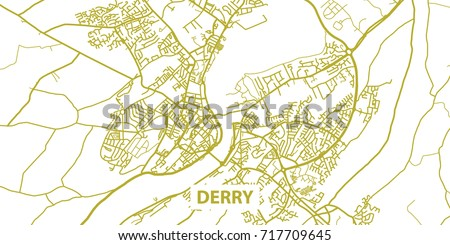 Detailed Vector Map Derry Londonderry Gold Title Stock Vector ...